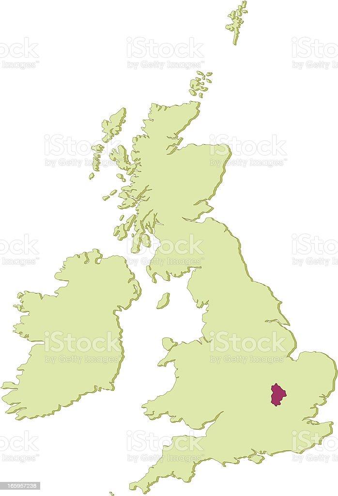 UK Bedfordshire map vector art illustration