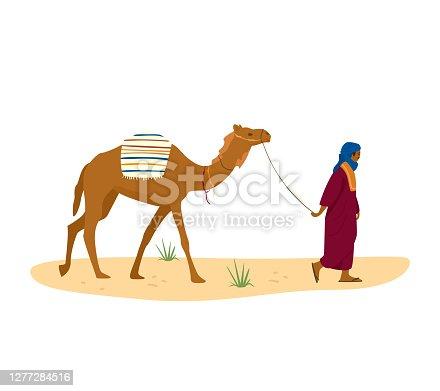 istock Bedouin leads his camel 1277284516
