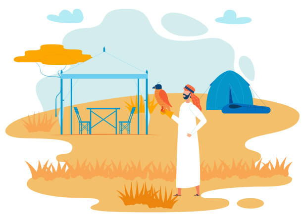 bedouin traveler with hawk flat vector character - bedouin tent stock illustrations, clip art, cartoons, & icons