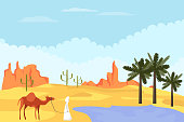Bedouin with a camel is in the desert. Desert landscape Bedouin with a camel came to an oasis with palm trees against the background of a desert landscape. Vector illustration.
