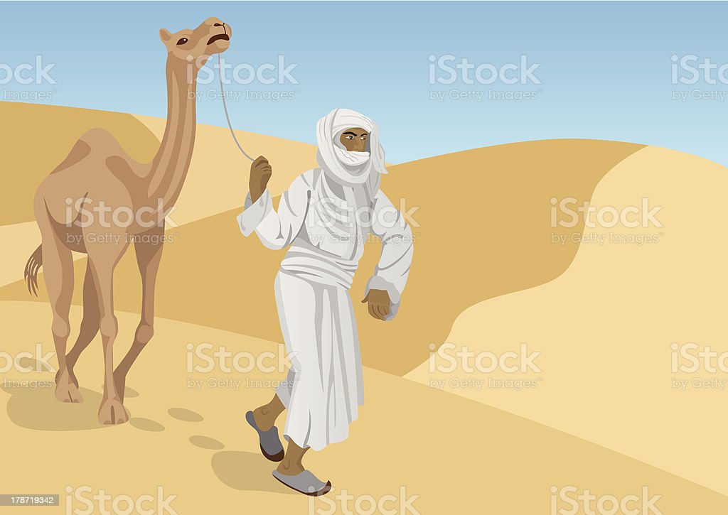 Bedouin with camel vector art illustration