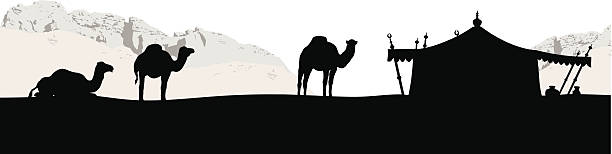 bedouins vector silhouette - bedouin tent stock illustrations, clip art, cartoons, & icons