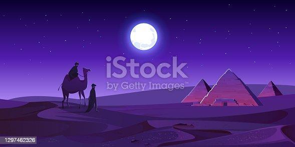 istock Bedouins walk to Egypt pyramids at night desert 1297462326