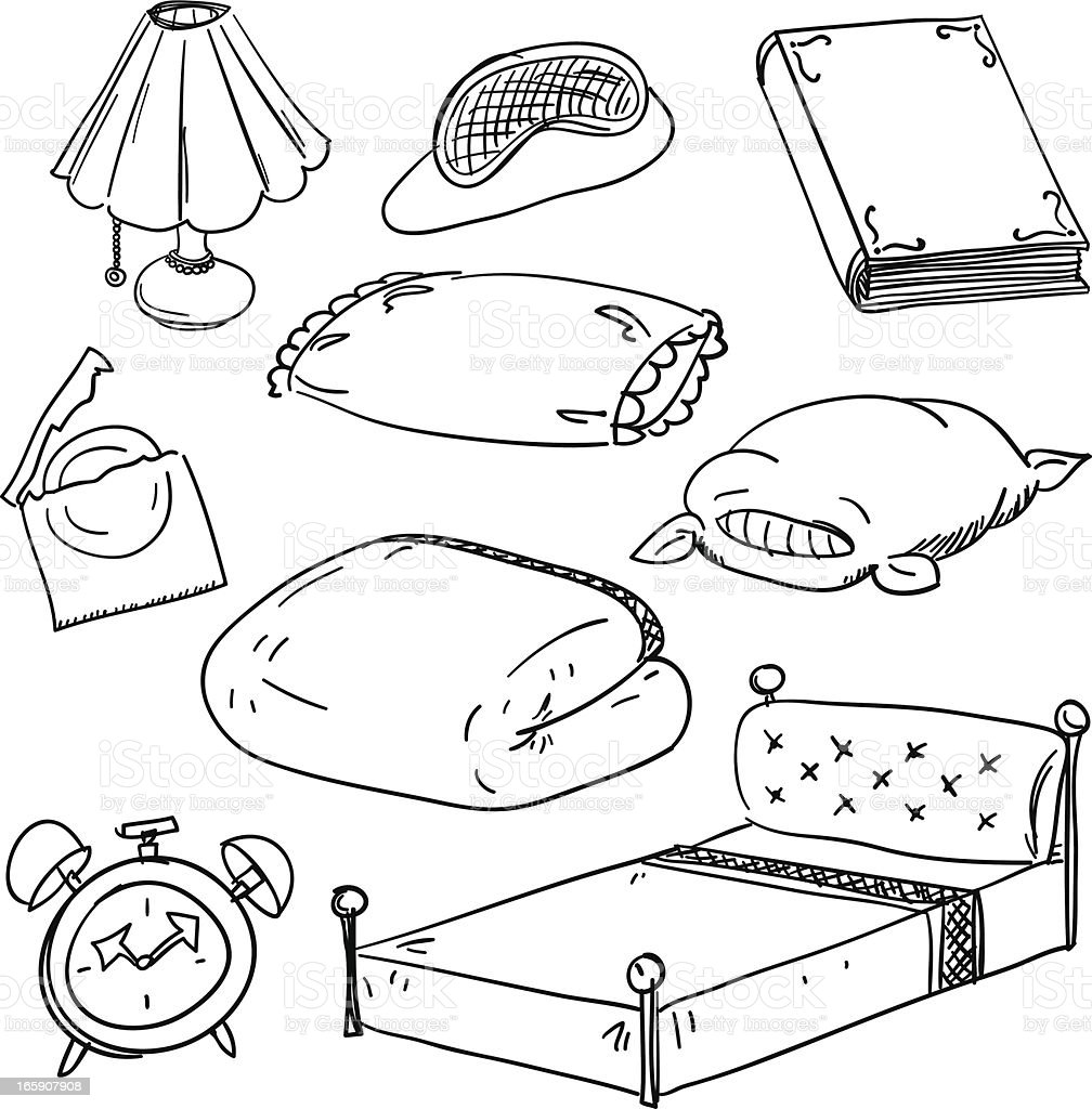 Bedroom accessory in black and white vector art illustration