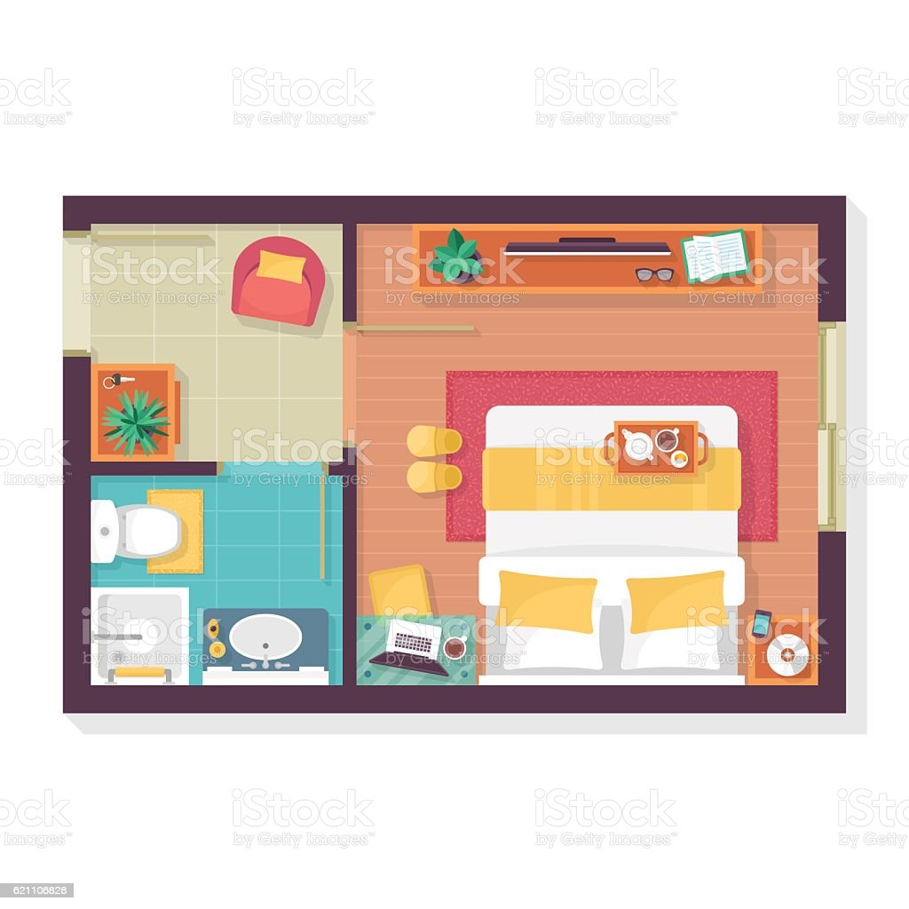 Bedroom and bathroom floor plan top view. Furniture set vector art illustration