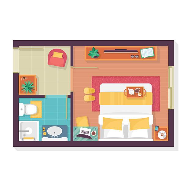 Bedroom And Bathroom Floor Plan Top View Furniture Set Vector Art Illustration