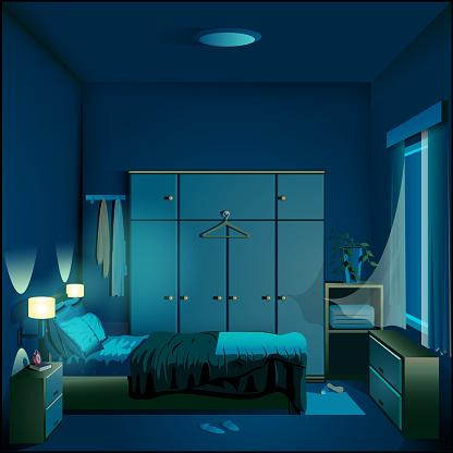 Bedroom at night background vector illustration