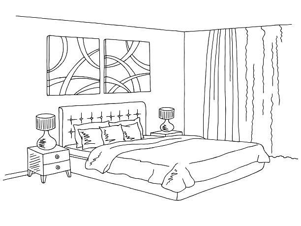 Bedroom black white graphic interior sketch illustration vector Bedroom black white graphic interior sketch illustration vector bedroom drawings stock illustrations