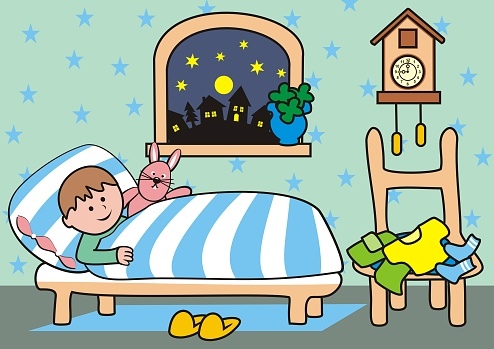 Bedroom, boy at bed, vector illustration