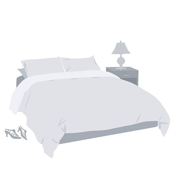 Bedroom Decor A vector silhouette illustration of a bedroom with a made bed, nightstand, lamp, and a pair of women's high heel shoes beside the bed. bedroom silhouettes stock illustrations