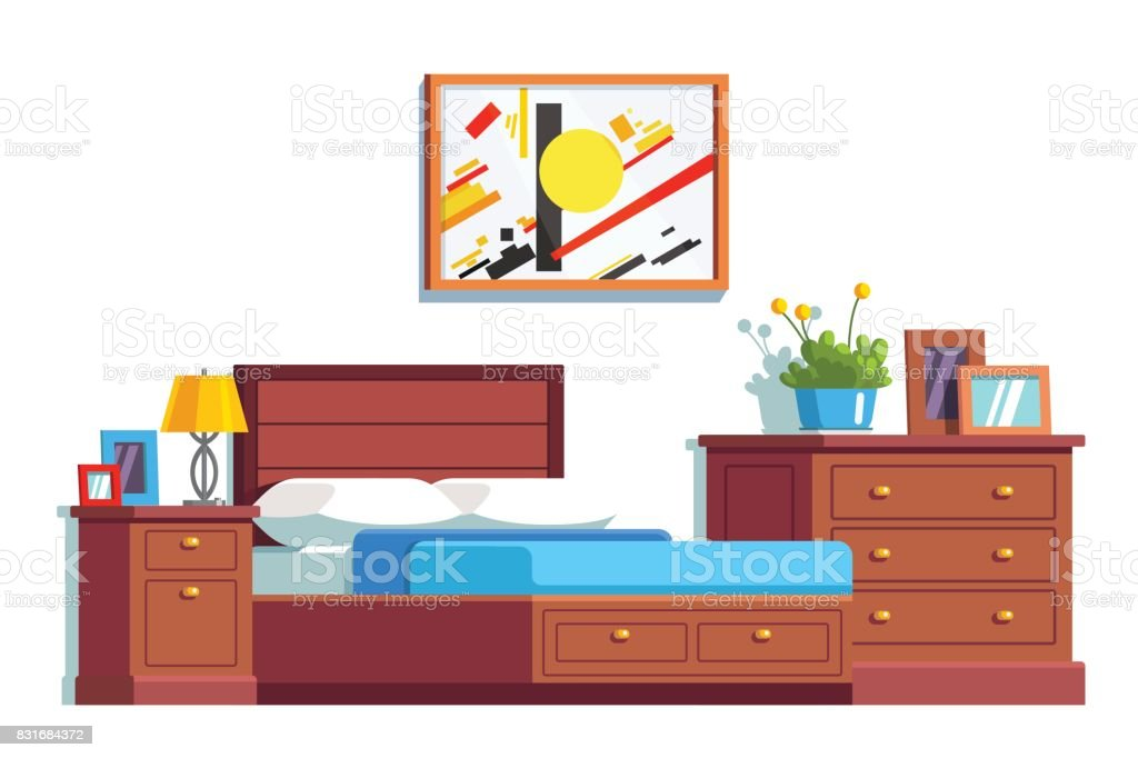 Bedroom decoration and furniture with double bed vector art illustration