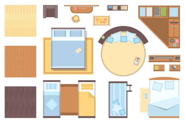 schlafzimmer-elemente - moderne vektorobjekte festlegen - teppichplatzierung stock-grafiken, -clipart, -cartoons und -symbole