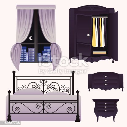 Some elements from a bedroom: closet, bed, window, curtain, night table.