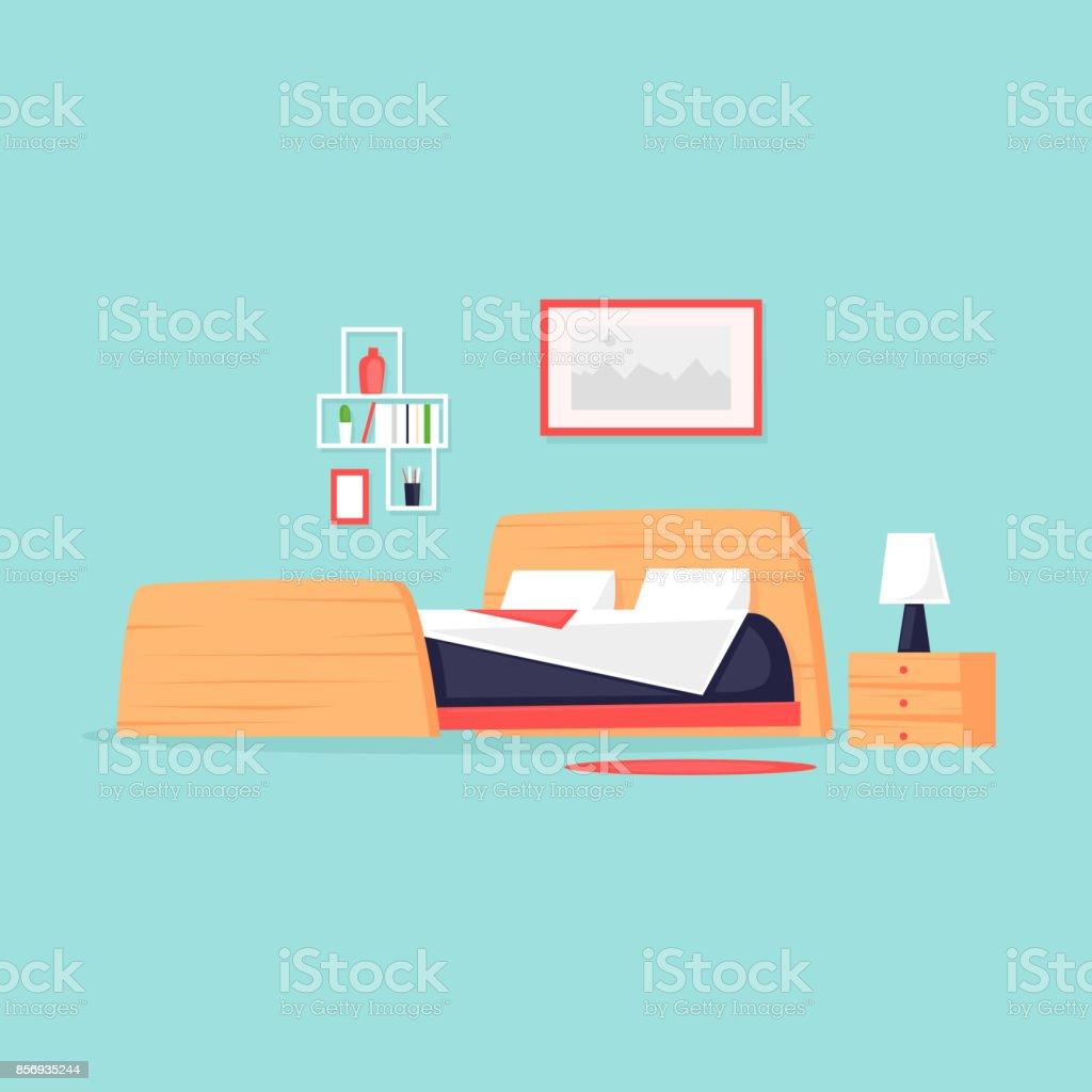 Bedroom. Flat vector illustration in cartoon style. vector art illustration