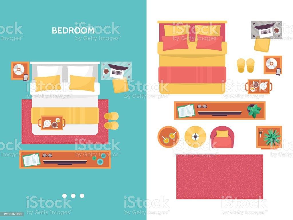 Bedroom floor plan top view. Furniture set for interior design. vector art illustration