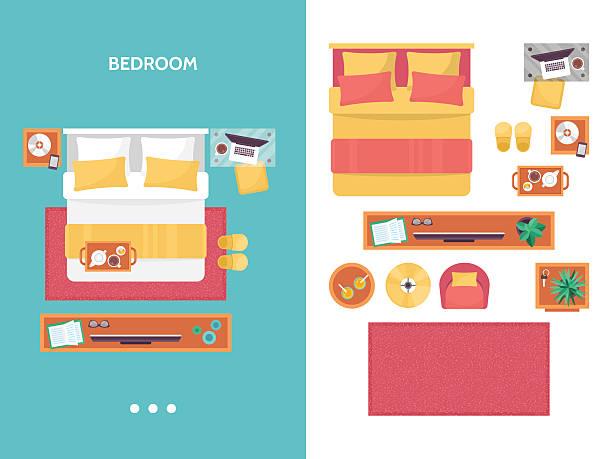 Bedroom floor plan top view. Furniture set for interior design. Bedroom floor plan top view. Furniture set for interior design. Isolated vector illustration bedroom silhouettes stock illustrations