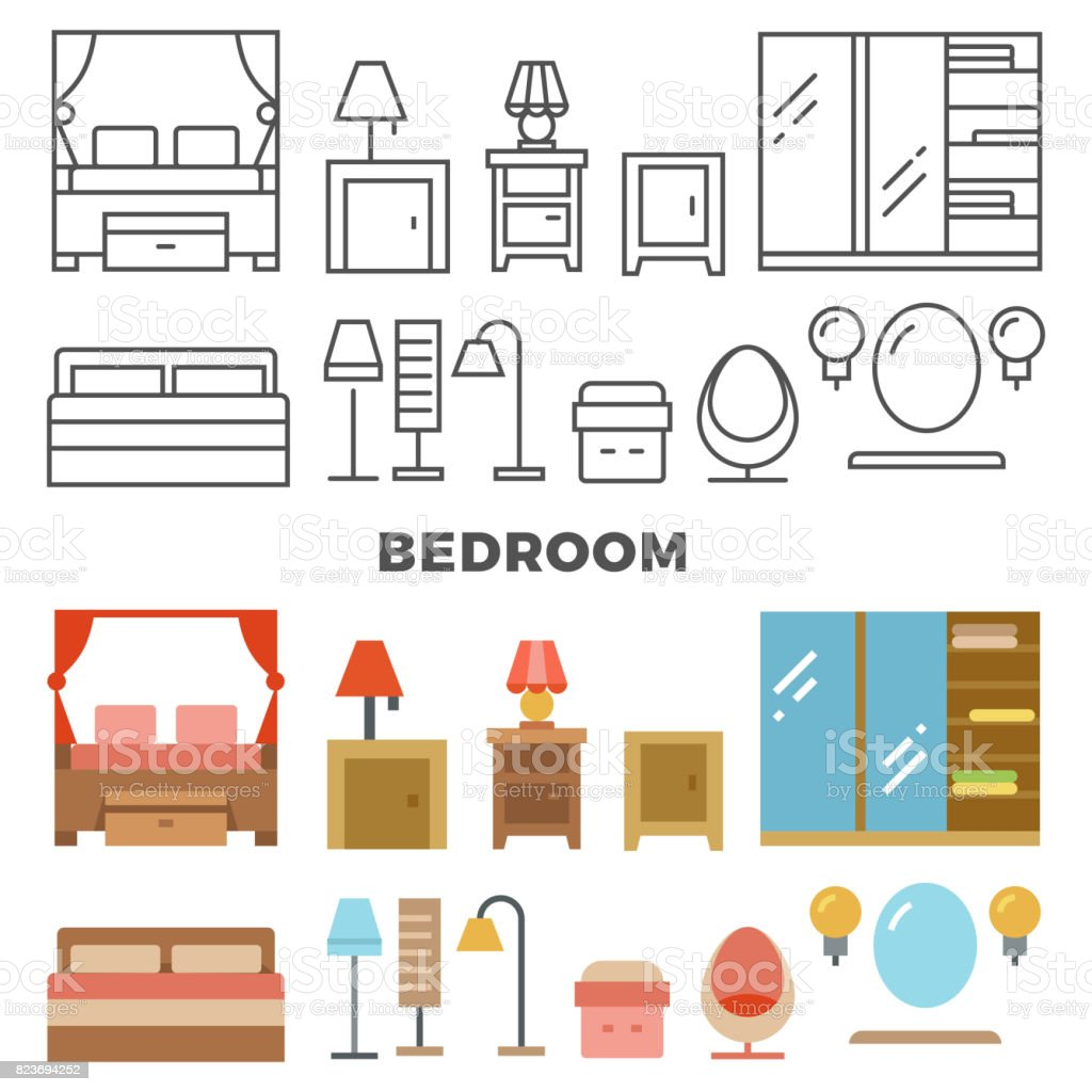 Bedroom Furniture And Accessories Collection Flat Furniture Icons