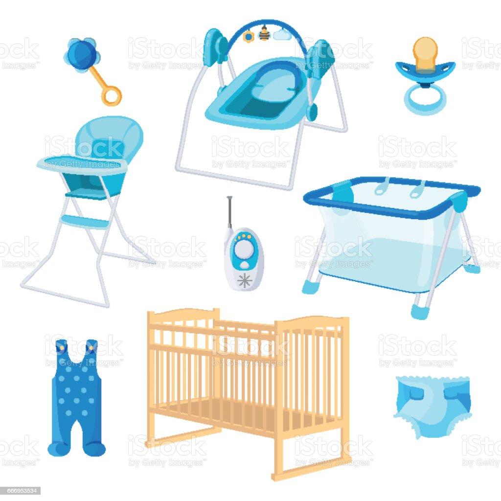 Bedroom Furniture For Newborn Boy On White Background Vector Art  Illustration
