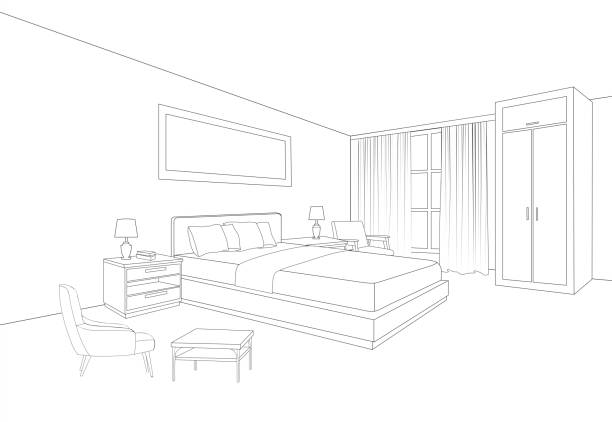 Bedroom furniture interior. Room line sketch drawing. Home Indoor design. Perspective of a interior space Bedroom furniture interior. Room line sketch drawing. Home Indoor design. Perspective of a interior space bedroom stock illustrations