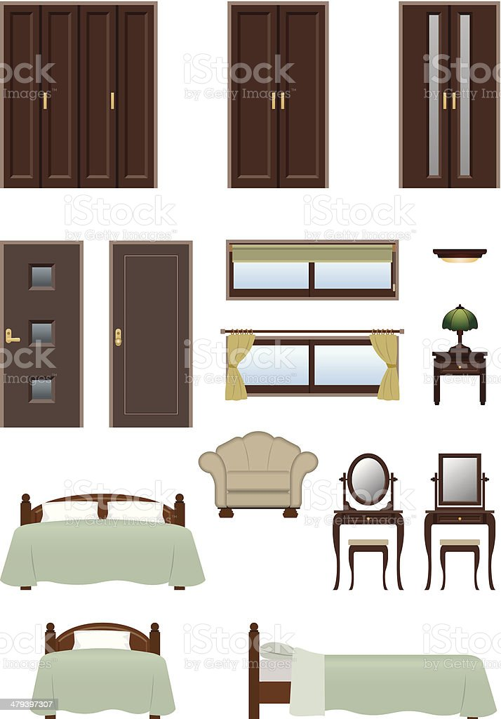 Bedroom furniture vector art illustration