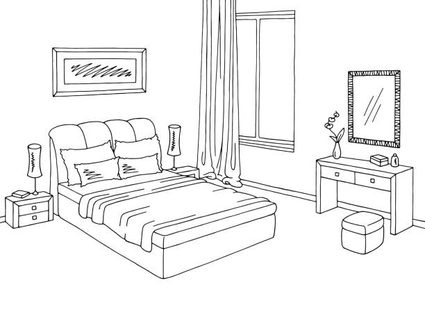 Clipart Bedroom Black And White