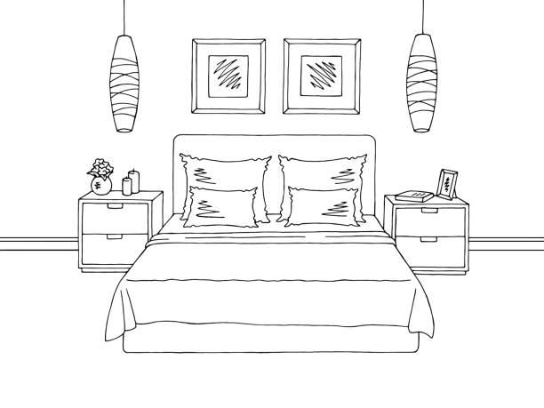illustrazioni stock, clip art, cartoni animati e icone di tendenza di bedroom graphic black white interior sketch illustration vector - bedroom