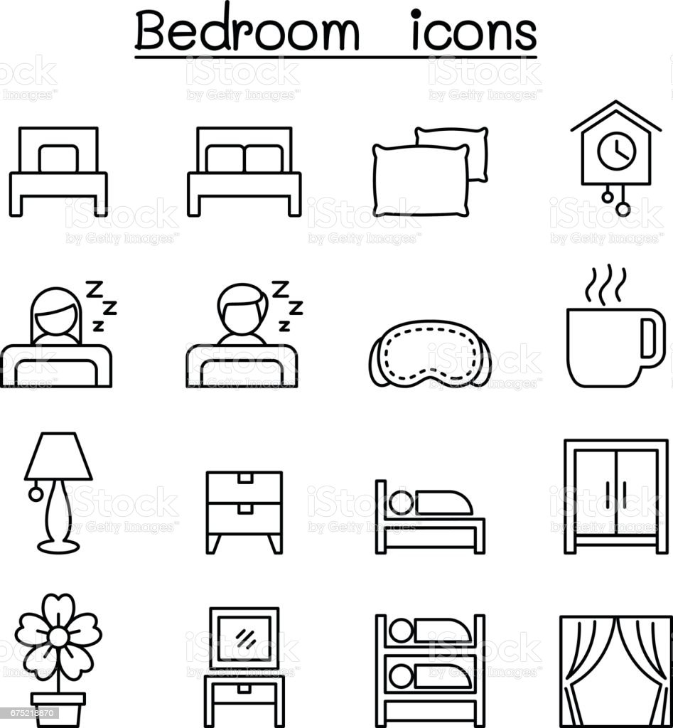 Bedroom icon set in thin line style vector art illustration