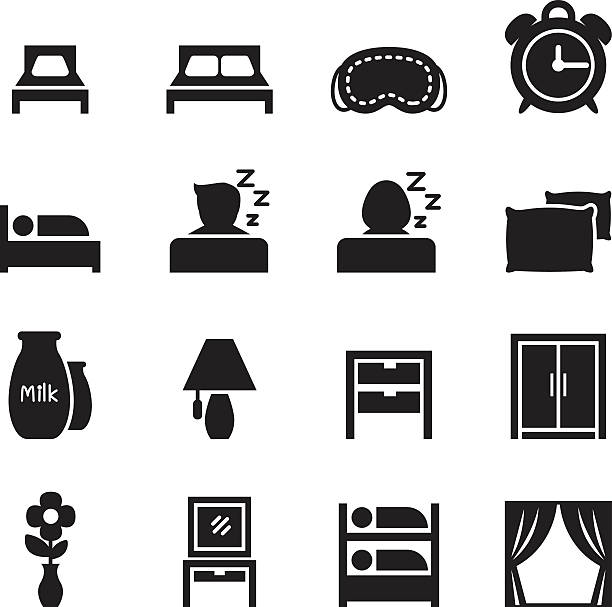Bedroom icons set Bedroom  & Accessories icons set bedroom silhouettes stock illustrations
