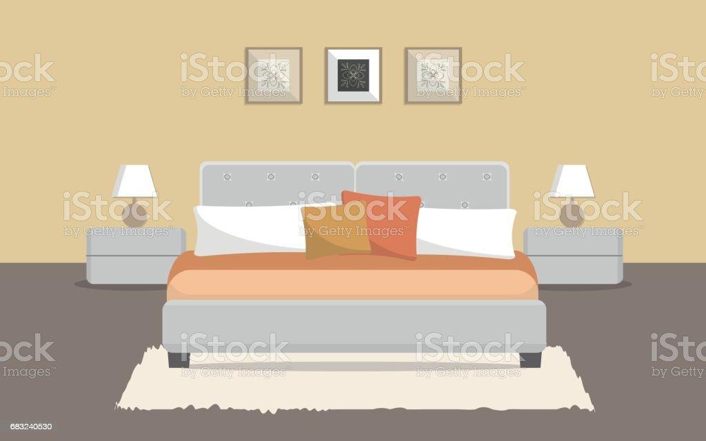 Bedroom in a beige color vector art illustration