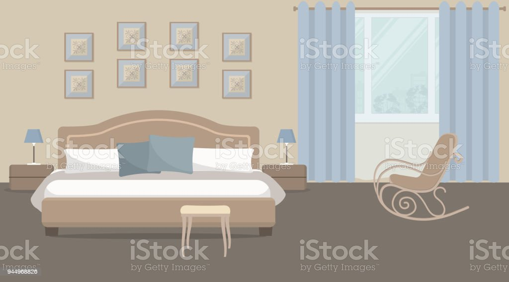Bedroom In A Beige Color With A Bed And A Rocking Chair Stock Vector ...