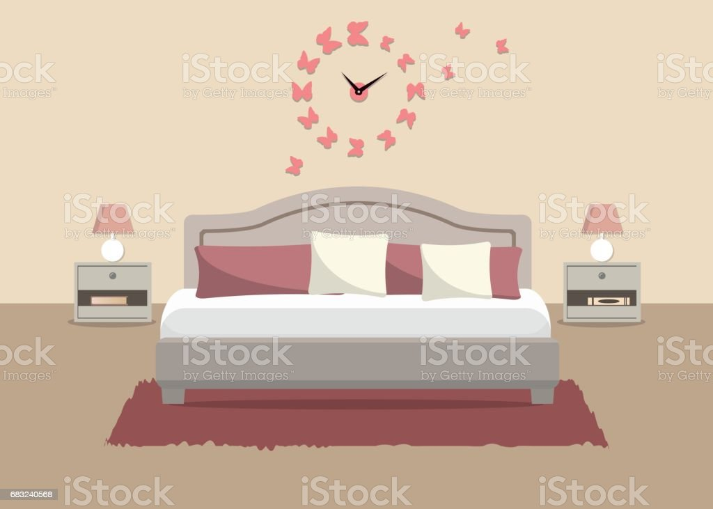 Bedroom in a pink color royalty-free bedroom in a pink color 0명에 대한 스톡 벡터 아트 및 기타 이미지