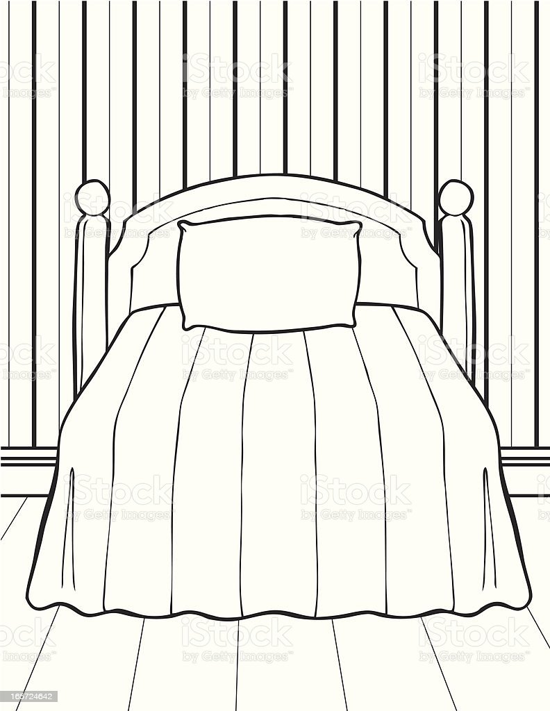 Bedroom in Black and White royalty-free stock vector art