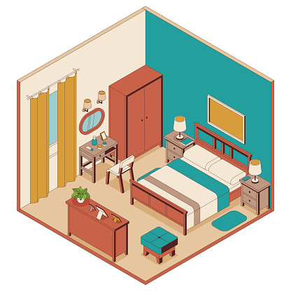 Bedroom in isometric style. Bed, furniture and lamps