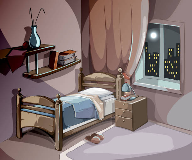 Royalty Free Night Bedroom Window Clip Art, Vector Images