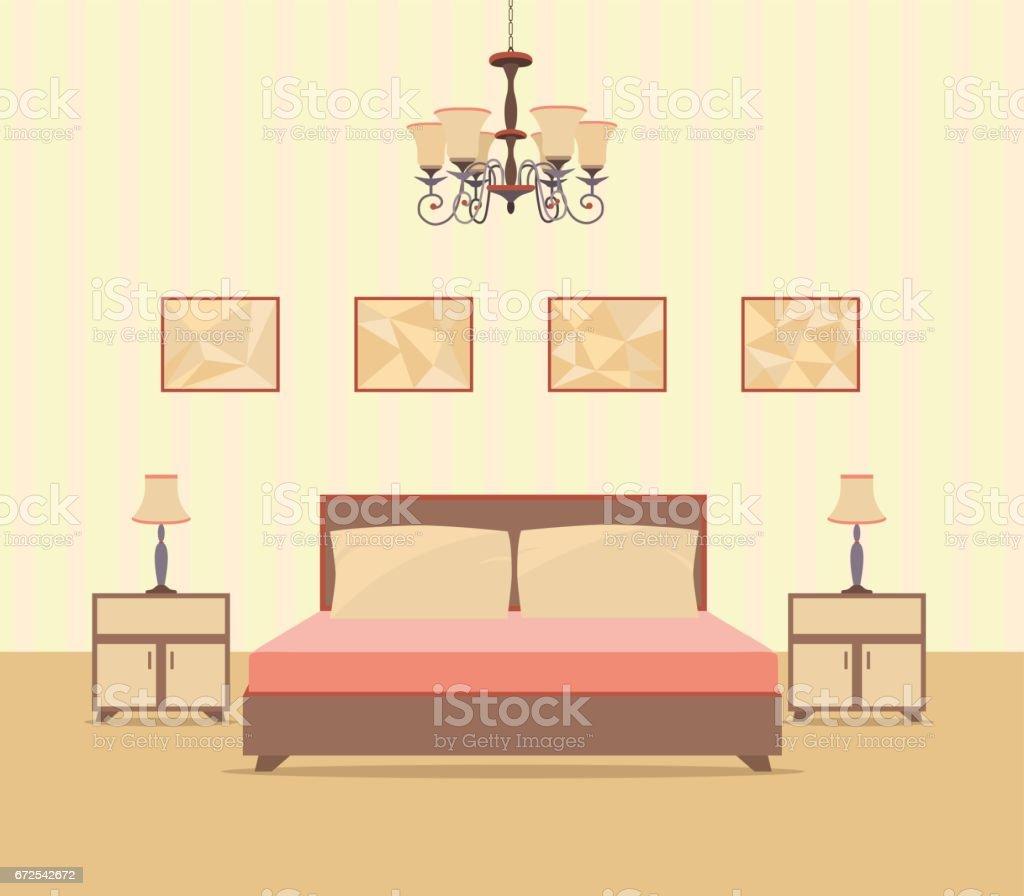 Schlafzimmerinnenarchitektur Im Flachen Stil Einschliesslich Bett