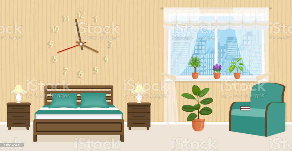 Bedroom interior design with bed, bedside tables, armchair and big clock on the wall. Domestic room design. bedroom interior design with bed bedside tables armchair and big clock on the wall domestic room design - stockowe grafiki wektorowe i więcej obrazów bez ludzi royalty-free