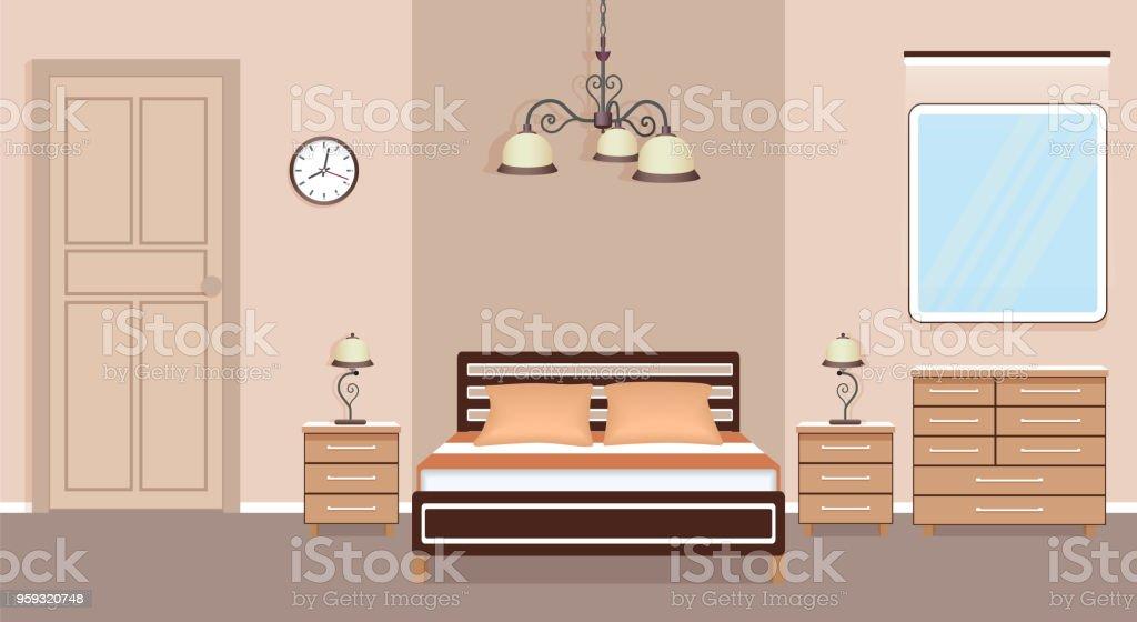 Schlafzimmerinnenarchitektur Mit Bett Nachttische Kommode ...