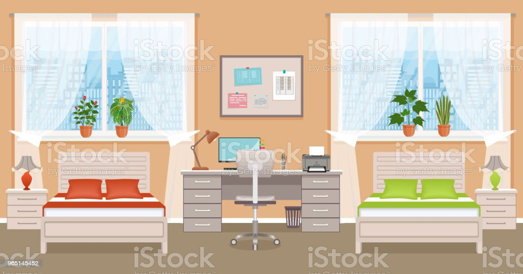 Bedroom interior design with two beds, table, desktop computer and window. Boy and girl bedroom. Domestic room design royalty-free bedroom interior design with two beds table desktop computer and window boy and girl bedroom domestic room design stock vector art & more images of apartment