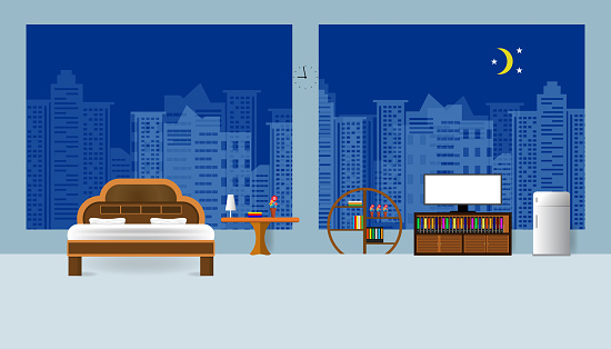 bedroom interior flat design relax and view building night in City blue background vector illustration