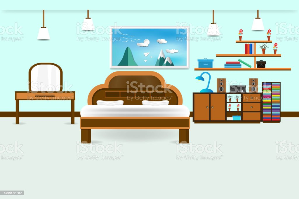 Tremendous Bedroom Interior Flat Design Relax With Bed Vanity And Download Free Architecture Designs Rallybritishbridgeorg