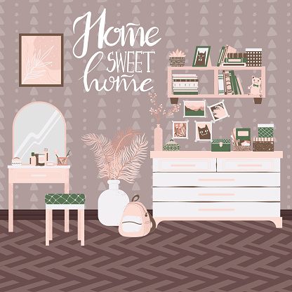 Bedroom interior, hand drawn scandinavian style. Background with handwritten slogan home sweet home. Home interior with shelf, dresser table and home decor in flat cartoon style.