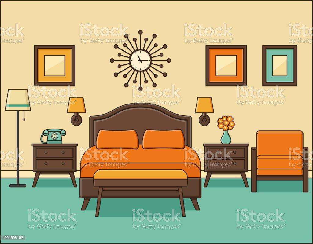 Ilustracion De Interior De Dormitorio Habitacion De Hotel En Diseno - Habitacion-retro