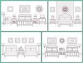 Bedroom interior. Hotel rooms with beds. Vector. Linear flat design illustration. Retro house furniture. Home space sketch in line art. Set vintage background. Outline contour apartment. Coloring page