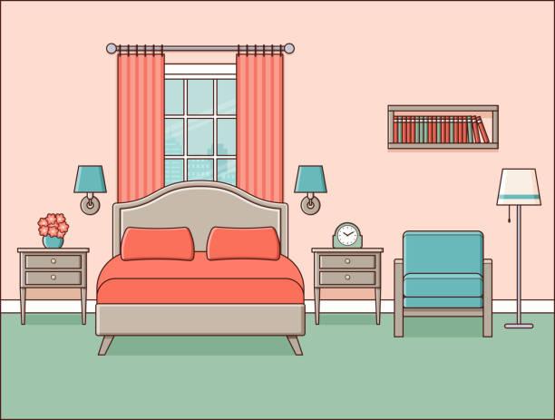 schlafzimmer innenraum. hotelzimmer. retro-wohnung. vektor-illustration. - stuhllehnen stock-grafiken, -clipart, -cartoons und -symbole