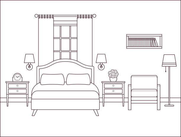 schlafzimmer innenraum. hotelzimmer mit doppelbett. vektor-illustration. - bodenbetten stock-grafiken, -clipart, -cartoons und -symbole