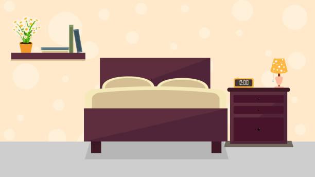 illustrazioni stock, clip art, cartoni animati e icone di tendenza di bedroom interior illustration - bedroom