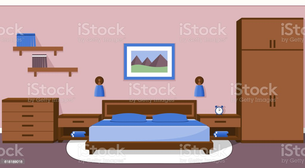 Bedroom Interior In Blue Colors Vector Illustration Stock ...