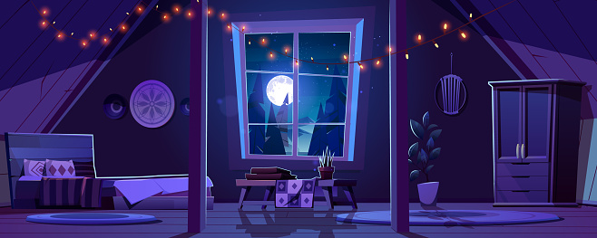 Bedroom interior in boho style on attic at night