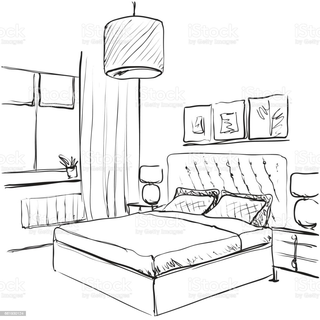 Bedroom interior sketch hand drawn furniture stock vector for Drawing room bed design