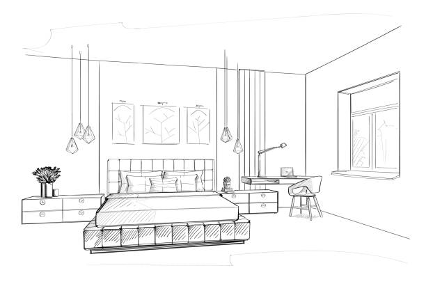 Schlafzimmer Innenskizze – Vektorgrafik